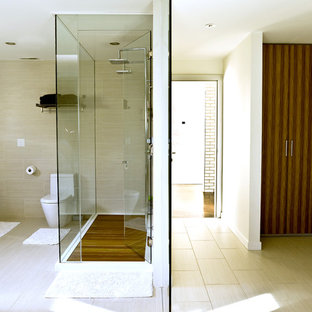 Exceptionnel Trendy Beige Tile Double Shower Photo In Chicago