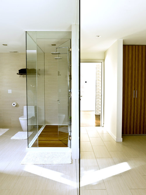 Exceptional Trendy Beige Tile Double Shower Photo In Chicago
