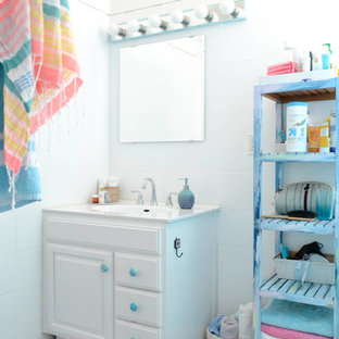 Small Eclectic White Tile Mosaic Floor And Blue Bathroom Photo In San Francisco With