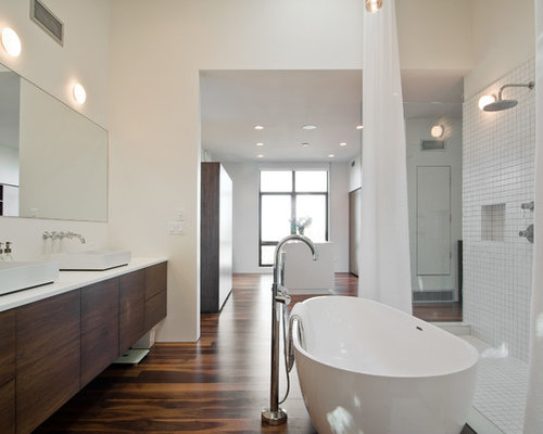 Perfect Example Of A Minimalist Bathroom Design In Salt Lake City With A Vessel Sink