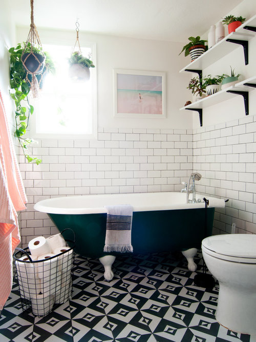 Inspiration For An Eclectic Master Subway Tile And Black White Ceramic Floor Claw
