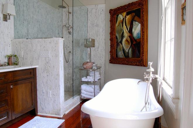 Transitional Bathroom by Corynne Pless