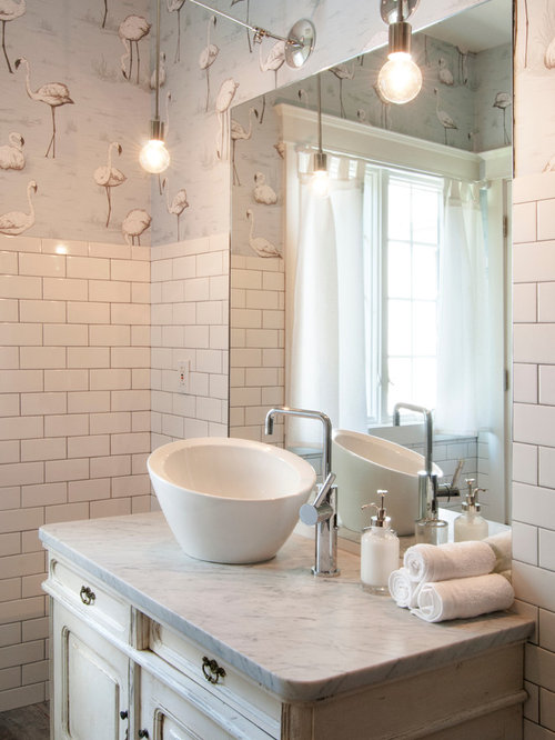 Inspiration For A Mid Sized Eclectic White Tile And Subway Tile Ceramic  Floor Bathroom Remodel