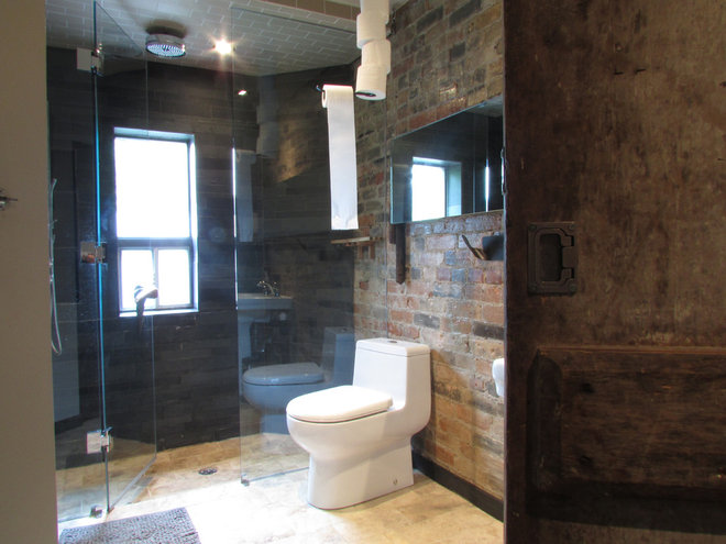 industrial bathroom by Jenn Hannotte / Hannotte Interiors