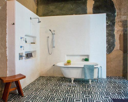 Bathroom Eclectic   Ceramic Floor And Black Floor Bathroom Idea In Other With