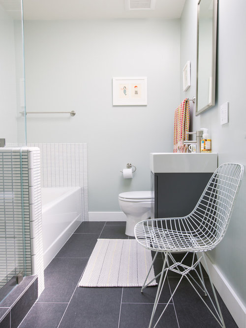 Example Of A Trendy White Tile Gray Floor Alcove Bathtub Design In San  Francisco With A Part 19