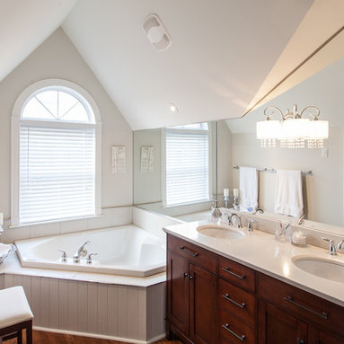 Lowes Wall Panels Bathroom Design Ideas, Pictures, Remodel & Decor with a Corner Tub and Shaker ...