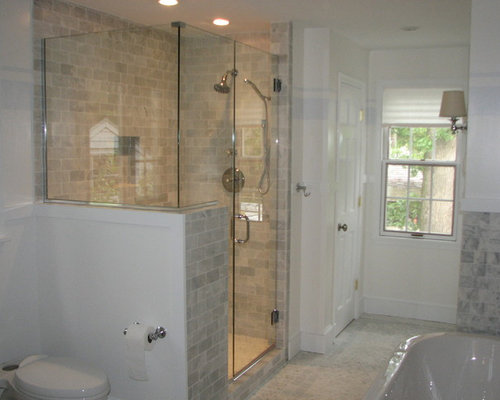 bathroom showers tile shower with half wall home design ideas pictures remodel 11268