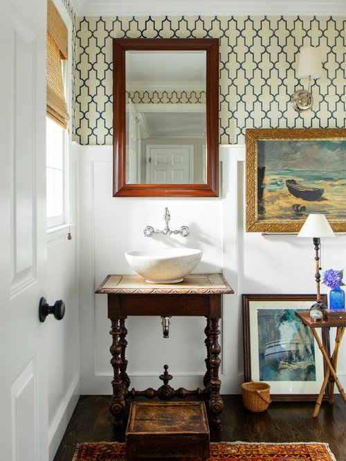 inspiration for a beach style 34 dark wood floor and brown floor bathroom remodel - Wainscoting Design Ideas