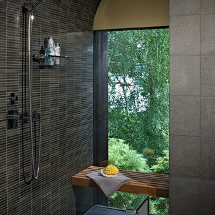 Large zen master black tile, blue tile, gray tile and matchstick tile slate floor bathroom photo in Seattle with flat-panel cabinets, medium tone wood cabinets, a two-piece toilet, yellow walls, an undermount sink and granite countertops