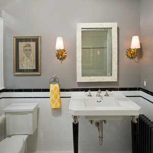 Example of a small classic 3/4 white tile and subway tile mosaic tile floor bathroom design in DC Metro with a console sink, a two-piece toilet and gray walls