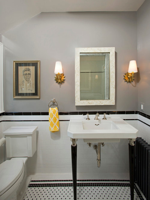 Example Of A Small Classic 3/4 White Tile And Subway Tile Mosaic Tile Floor