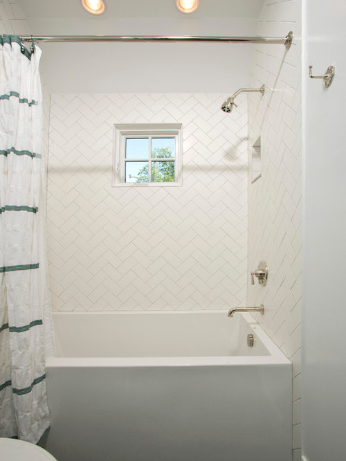 Inspiration for a timeless white tile and subway tile mosaic tile floor  bathroom remodel in DC