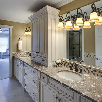 Example of a classic mosaic tile bathroom design in Chicago