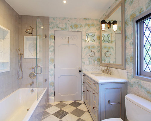 Example of a classic bathroom design in Los Angeles with marble countertops. Half Door On Tub   Houzz