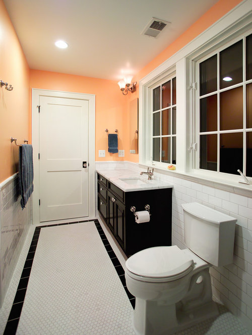 Subway tile border ideas pictures remodel and decor Peach bathroom