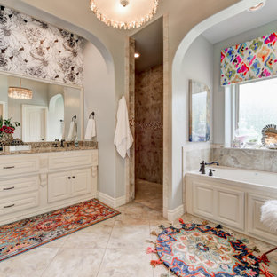 Large transitional master wallpaper bathroom photo in Oklahoma City with raised-panel cabinets, white cabinets and granite countertops