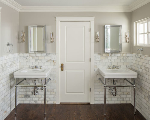 Example Of A Classic Bathroom Design In Salt Lake City With Console Sink White