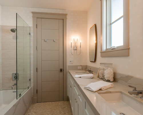 Bathroom   Transitional Pebble Tile Floor And Beige Floor Bathroom Idea In  Los Angeles With Recessed