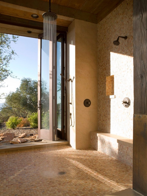 Houzz shower door to outside design ideas remodel pictures for Bath remodel napa ca