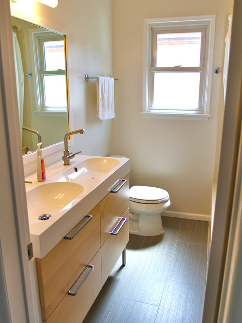 example of a trendy bathroom design in los angeles with an integrated sink flat - Bathroom Design Los Angeles