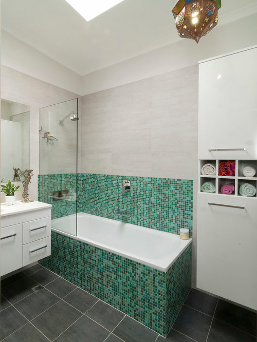 inspiration for a mid sized contemporary green tile and mosaic tile ceramic floor bathroom remodel - Bathroom Ideas Beach