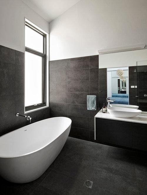 Dark Stone Tile Floor Home Design Ideas Pictures Remodel