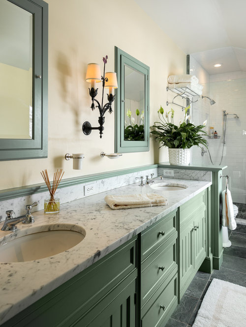 Light green cabinets houzz for Green painted bathroom ideas