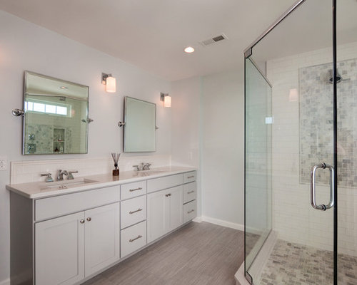 Example of a mid-sized transitional master double shower design in  Philadelphia with gray tile - Narrow Depth Vanity Houzz