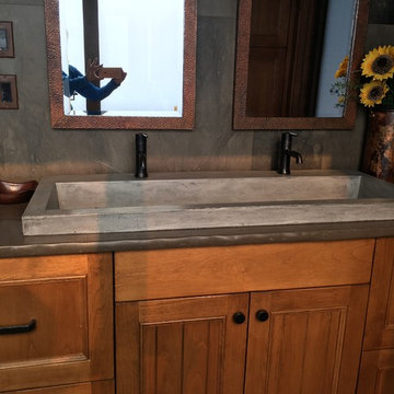 Native Trails trough sink and copper mirrors