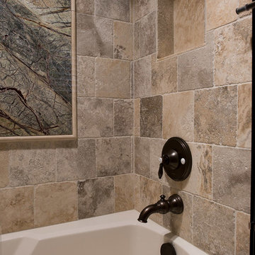 Nature-Inspired Hall Bath - Stone Tiling