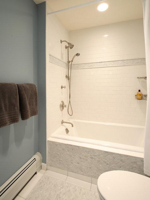 bathtub tile ideas. Trendy mosaic tile tub shower combo photo in New York Bathtub Tile Ideas  Photos Houzz
