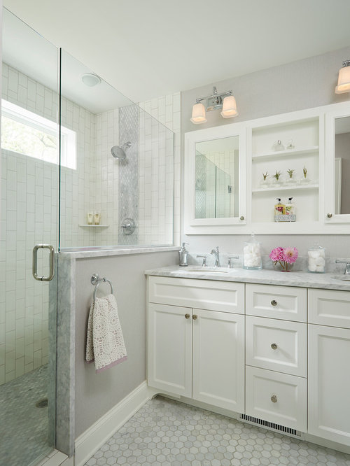 bathroom design ideas, remodels  photos with white tile, Bathroom decor