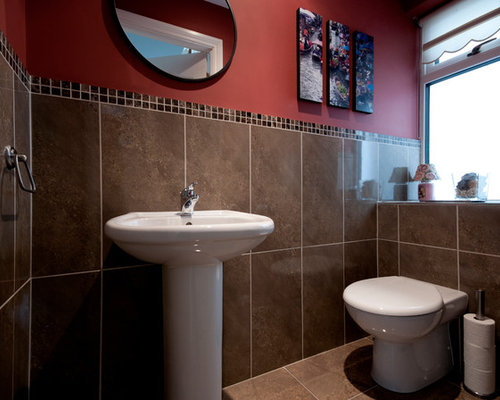 Bathroom design ideas renovations photos with brown for Bathroom ideas with red walls