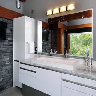 High Gloss Bathroom Cabinets Example Of A Trendy Gray Tile And Stone Design In Ottawa With Trough