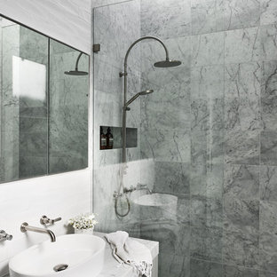 Inspiration for a mid-sized contemporary master bathroom in Sydney with grey cabinets, marble, marble floors, a vessel sink, marble benchtops, an open shower, grey benchtops, flat-panel cabinets, a curbless shower, gray tile and grey floor.