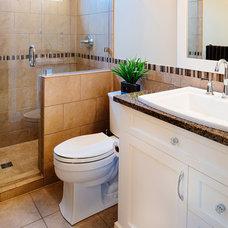 Transitional Bathroom by Kenorah Design + Build Ltd.
