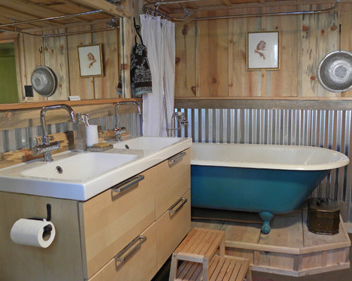 Corrugated metal wainscoting houzz for Corrugated iron bathroom ideas