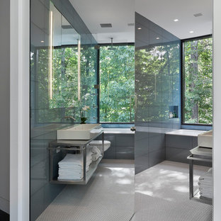 Example of a large minimalist dark wood floor bathroom design in New York with a wall-mount sink, open cabinets, stainless steel countertops and white walls