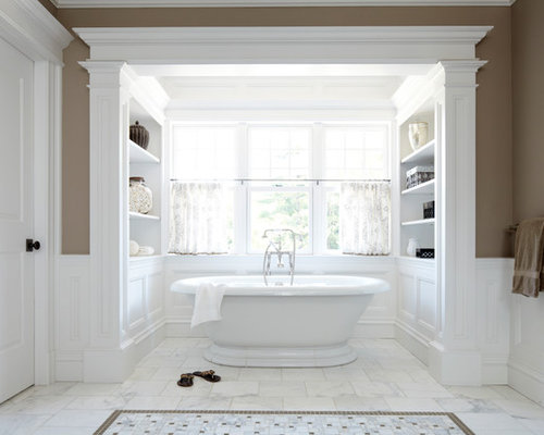 Freestanding Bathtub   Large Victorian Master White Tile Marble Floor And  White Floor Freestanding Bathtub Idea