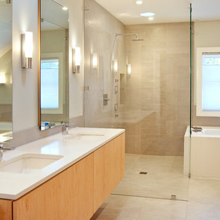 Inspiration for a modern stone tile bathroom remodel in Portland Maine