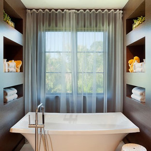 Inspiration for a contemporary freestanding bathtub remodel in Miami