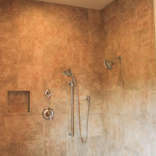 Small elegant 3/4 ceramic floor bathroom photo in Other with flat-panel cabinets, light wood cabinets, a one-piece toilet, beige walls, an integrated sink and laminate countertops