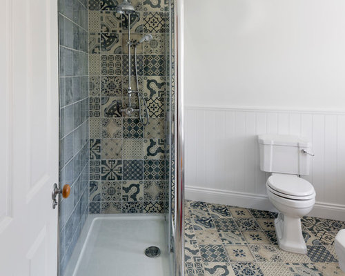 Photo Of A Small Classic Shower Room In Other With Multi Coloured Tiles,  Ceramic
