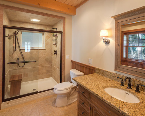 rustic bathroom idea in boston with an undermount sink medium tone wood cabinets an
