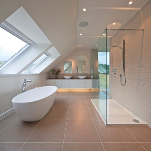 Inspiration for a large contemporary bathroom in Other with flat-panel cabinets, white cabinets, a freestanding bath, a walk-in shower, beige tiles, a vessel sink and an open shower.