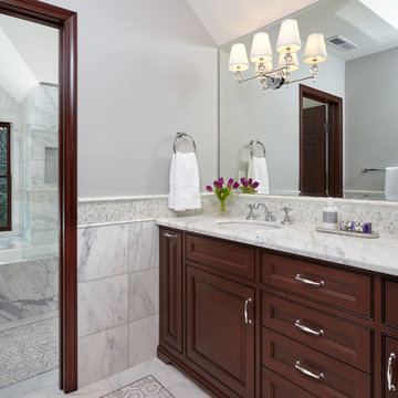 New Marble Bathroom in Palo Alto Traditional Home Renovation