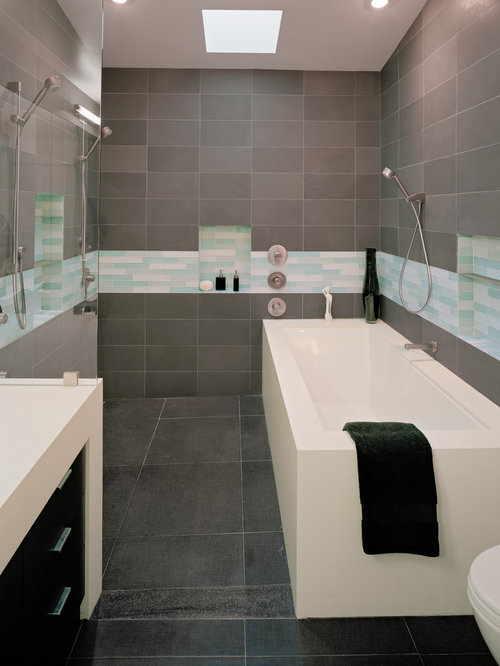 gray tile bathroom houzz. Black Bedroom Furniture Sets. Home Design Ideas