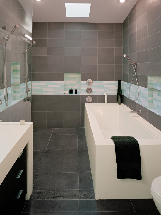 gray tile bathroom | houzz