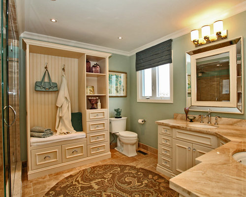 Example Of A Classic Beige Tile Bathroom Design In Toronto With An  Undermount Sink, Recessed